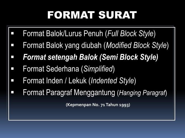 FORMAT SURAT