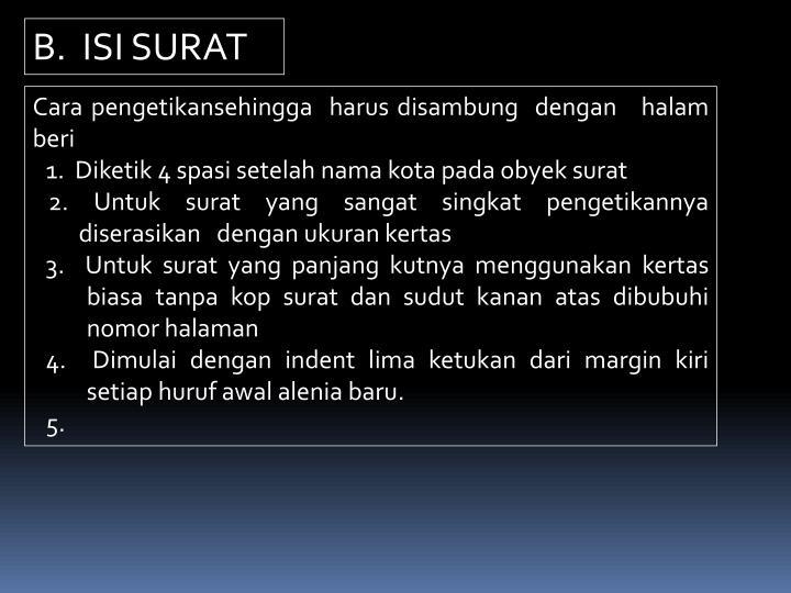 B.  ISI SURAT