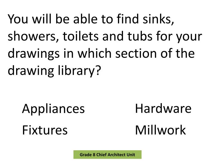 You will be able to find sinks, showers, toilets and tubs for your drawings in which section of the drawing library?