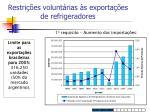 restri es volunt rias s exporta es de refrigeradores