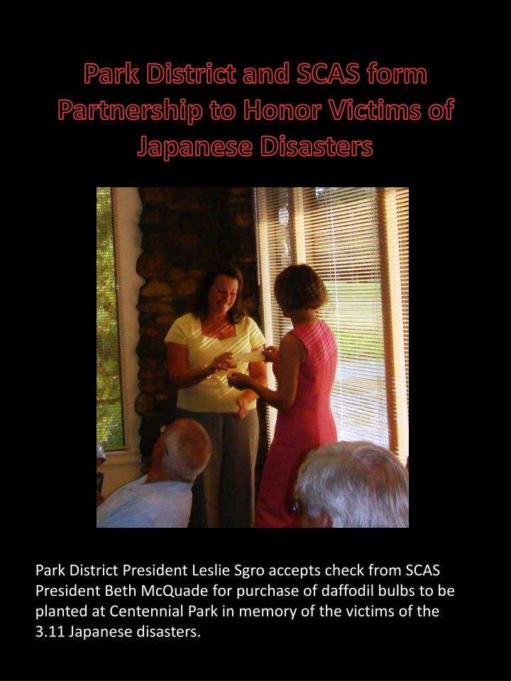 Park District and SCAS form Partnership to Honor Victims of Japanese Disasters