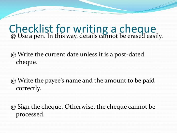 Checklist for writing a