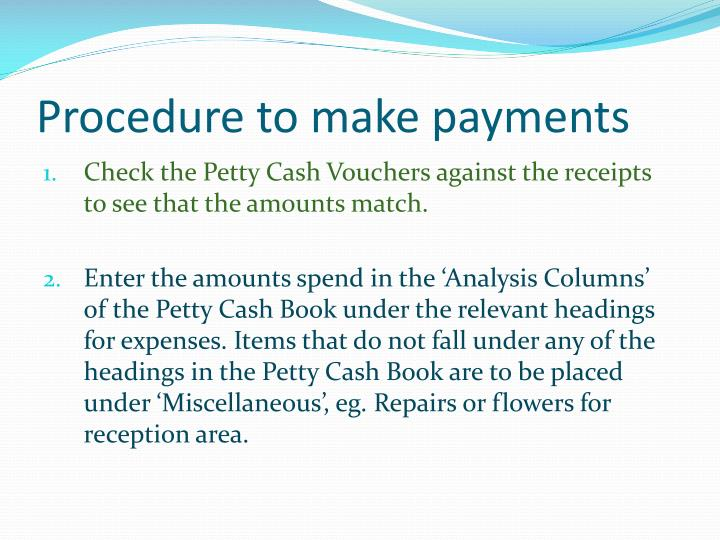 Procedure to make payments