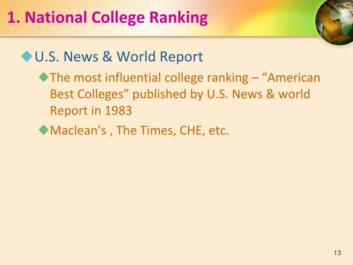 1.National College Ranking