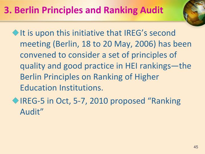 3.Berlin Principles and Ranking Audit