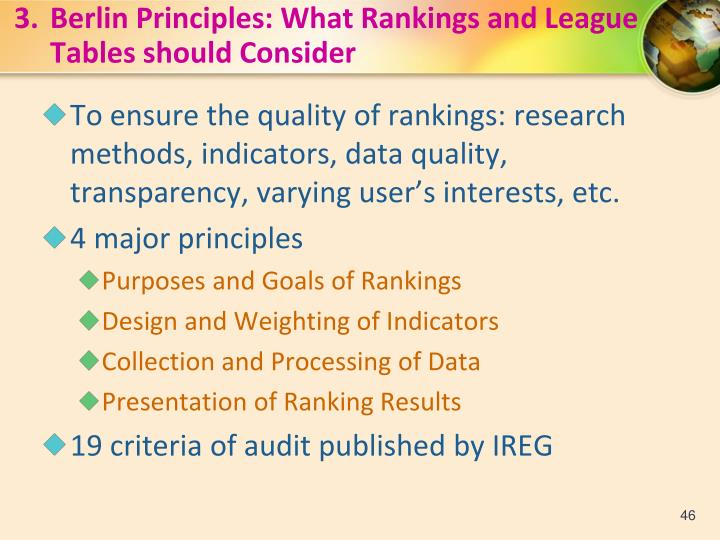 3.Berlin Principles: What Rankings and League