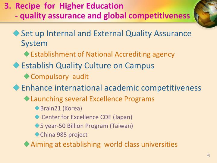 3.Recipe  for  Higher Education
