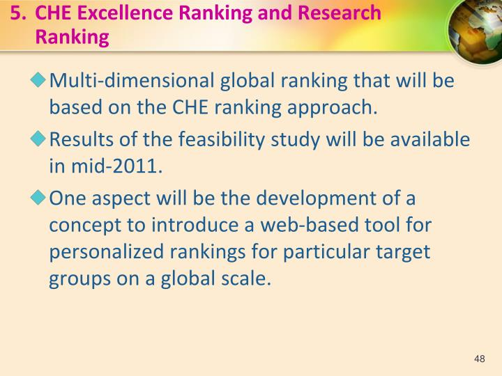 5.CHE Excellence Ranking and Research