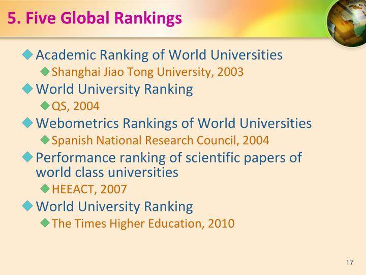 5. Five Global Rankings