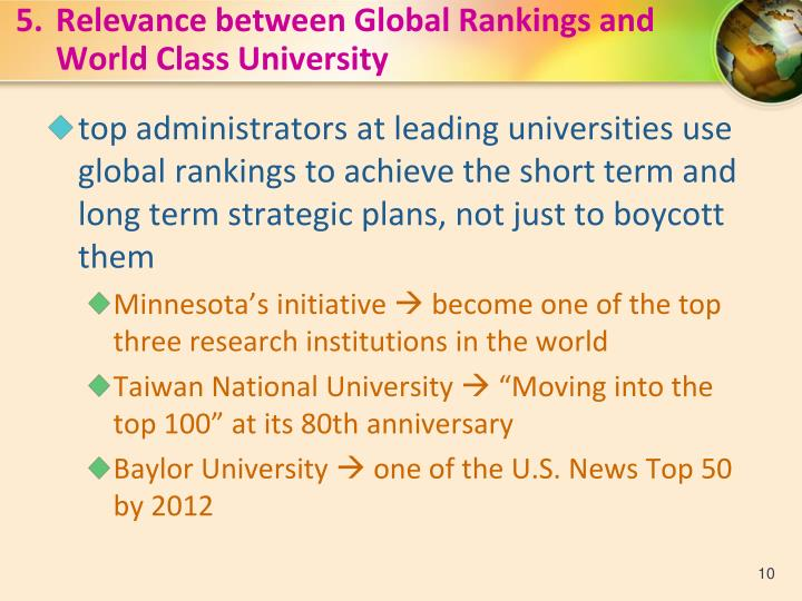 5.Relevance between Global Rankings and