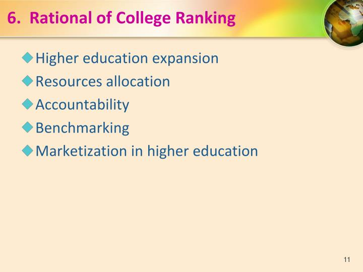6.  Rational of College Ranking