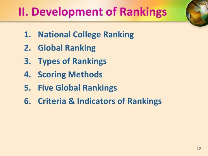 II. Development of Rankings