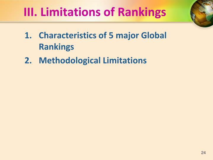 III. Limitations of Rankings