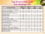 top 20 universities in the four rankings 2 2