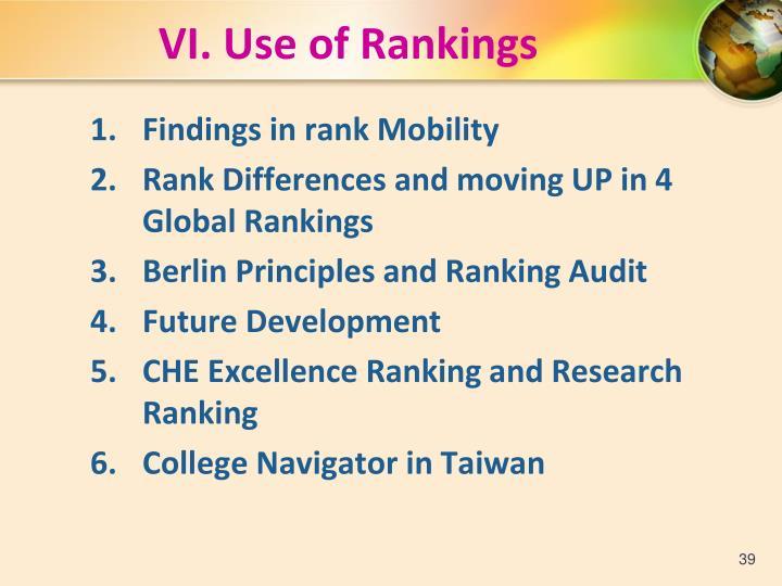 VI. Use of Rankings