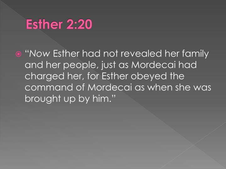 Esther 2:20