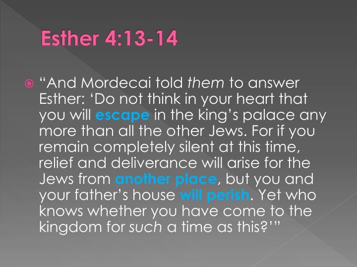 Esther 4:13-14