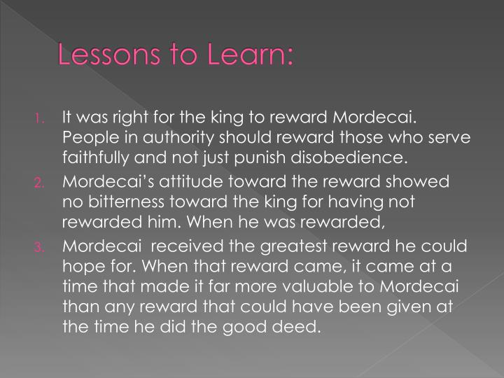 Lessons to Learn: