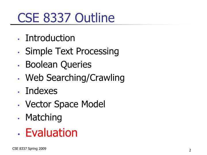 Cse 8337 outline