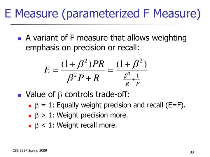 E Measure (parameterized F Measure)