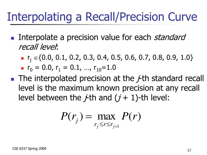 Interpolating a Recall/Precision Curve