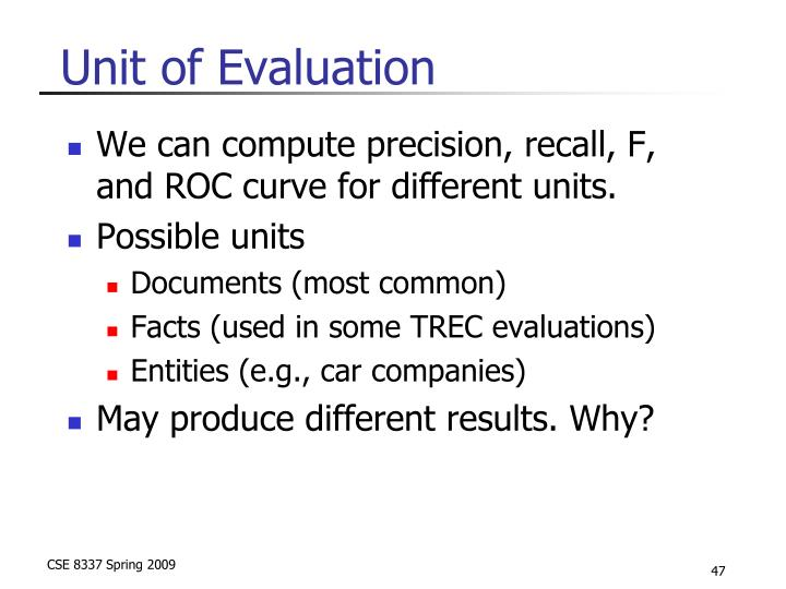 Unit of Evaluation