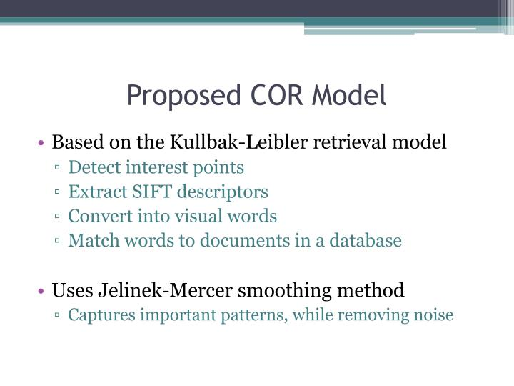Proposed COR Model