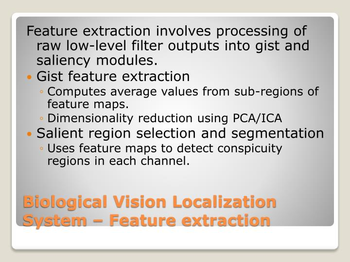 Feature extraction involves processing of raw low-level filter outputs into gist and saliency modules.
