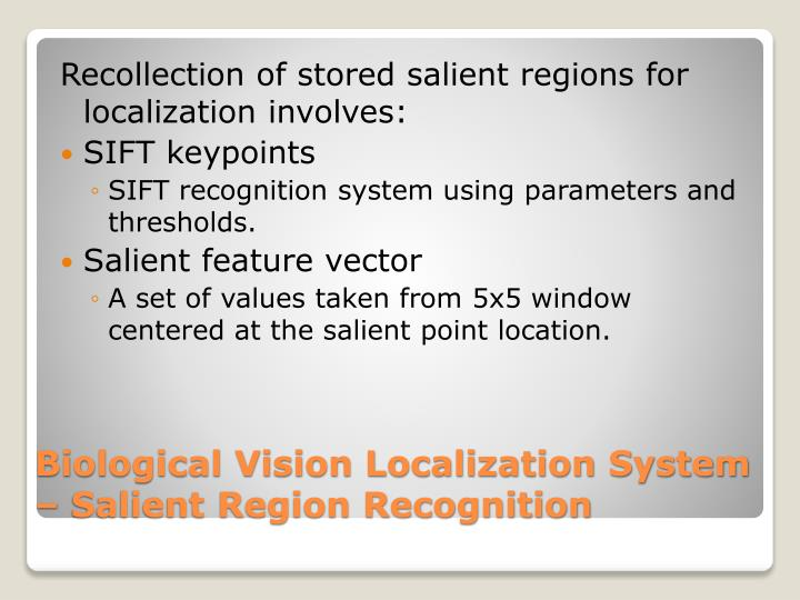 Recollection of stored salient regions for localization involves: