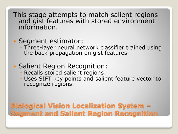 This stage attempts to match salient regions and gist features with stored environment information.