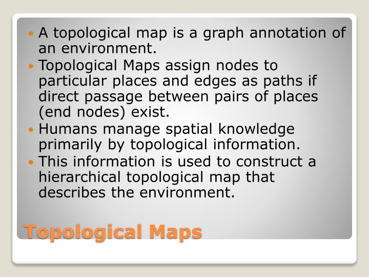 A topological map is a graph annotation of an environment.