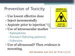 prevention of toxicity