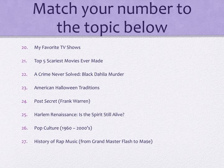 Match your number to the topic below