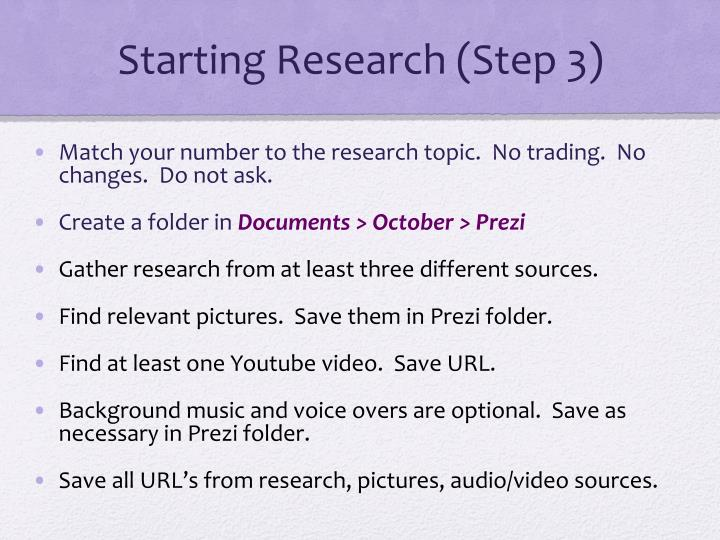 Starting Research (Step 3)