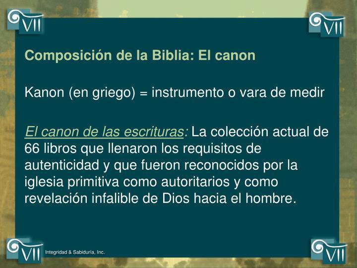 Composición de la Biblia: El canon