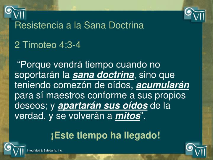 Resistencia a la Sana Doctrina