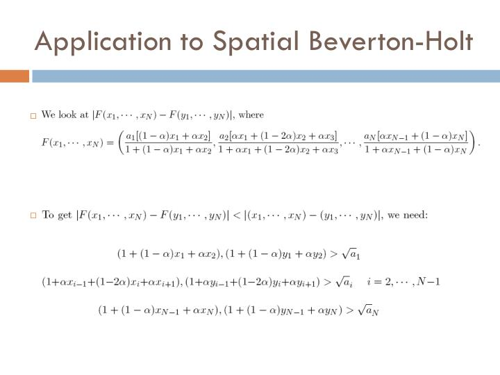 Application to Spatial Beverton-Holt