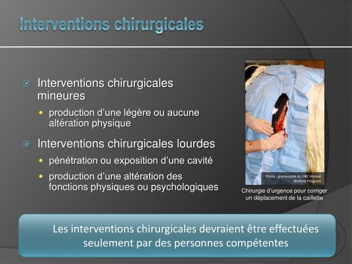 Interventions chirurgicales