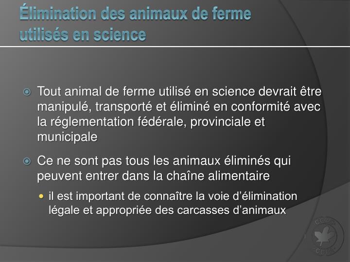 Élimination des animaux de ferme utilisés en science