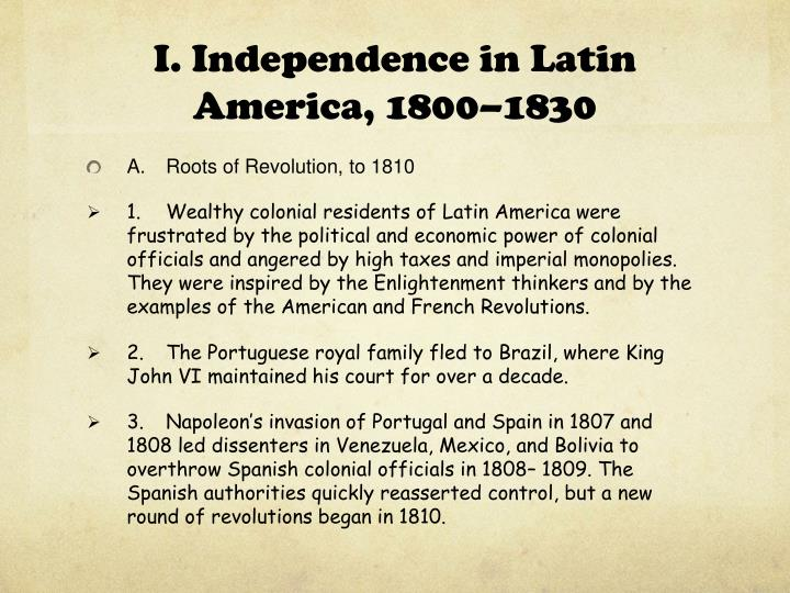 I. Independence
