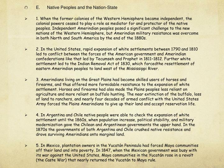 E.Native Peoples and the Nation-State