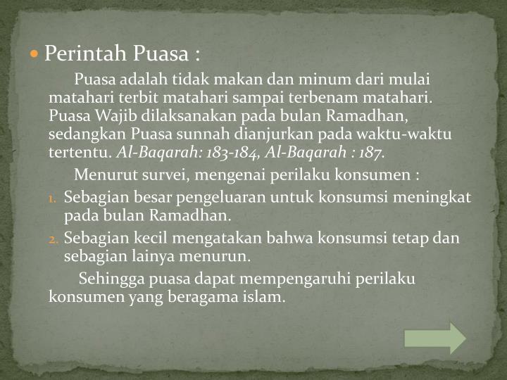 Perintah Puasa :