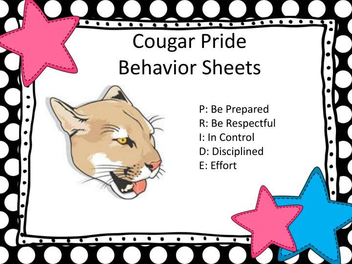 Cougar Pride Behavior Sheets