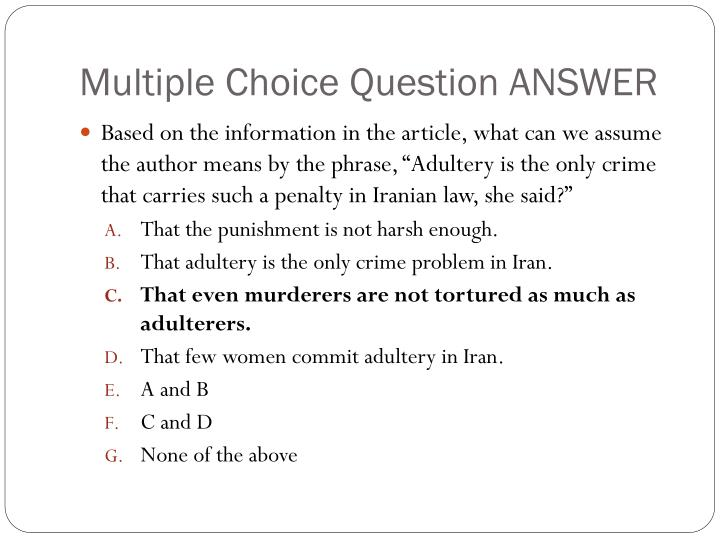 Multiple Choice Question ANSWER