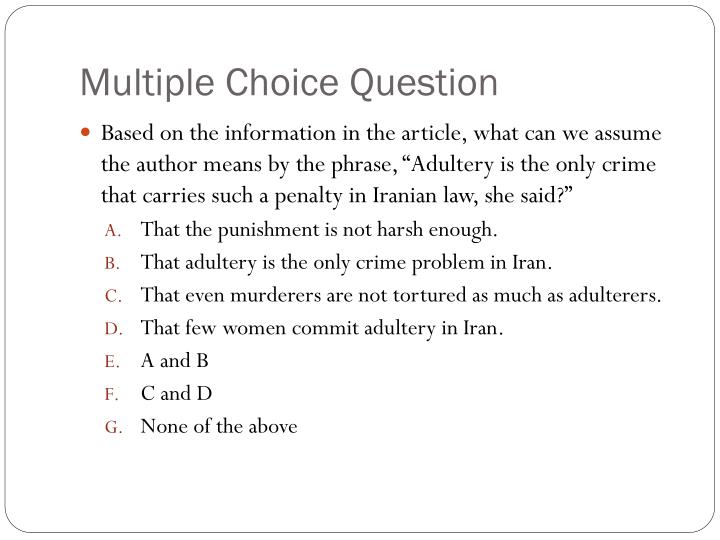 Multiple Choice Question
