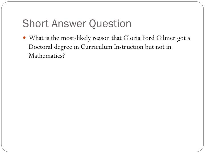 Short Answer Question