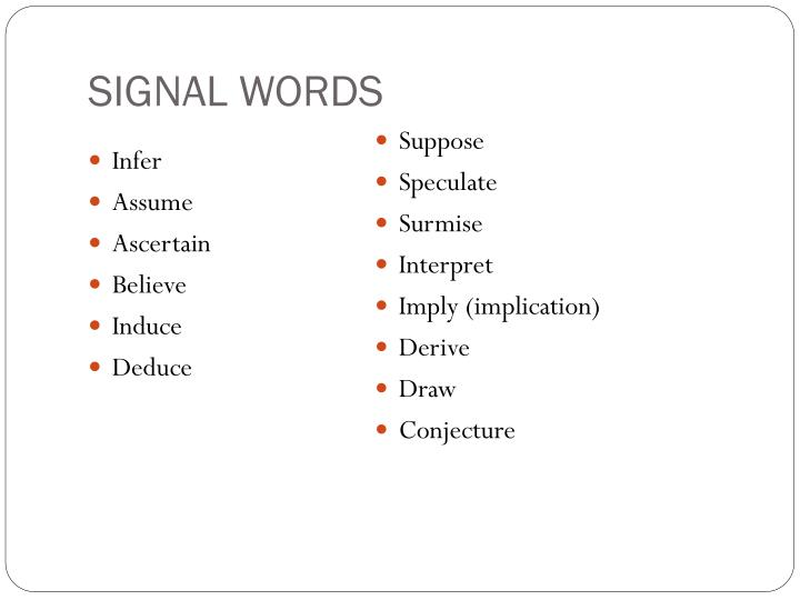 SIGNAL WORDS