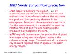 ino needs for particle production