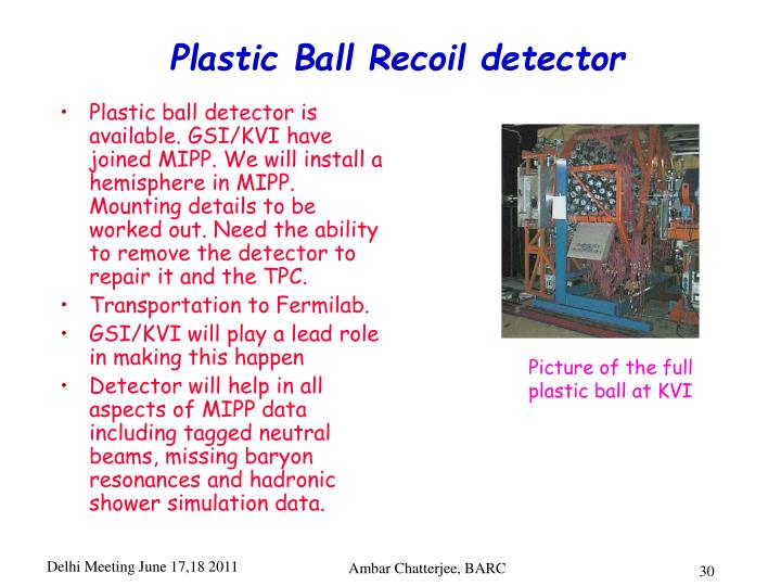 Plastic Ball Recoil detector