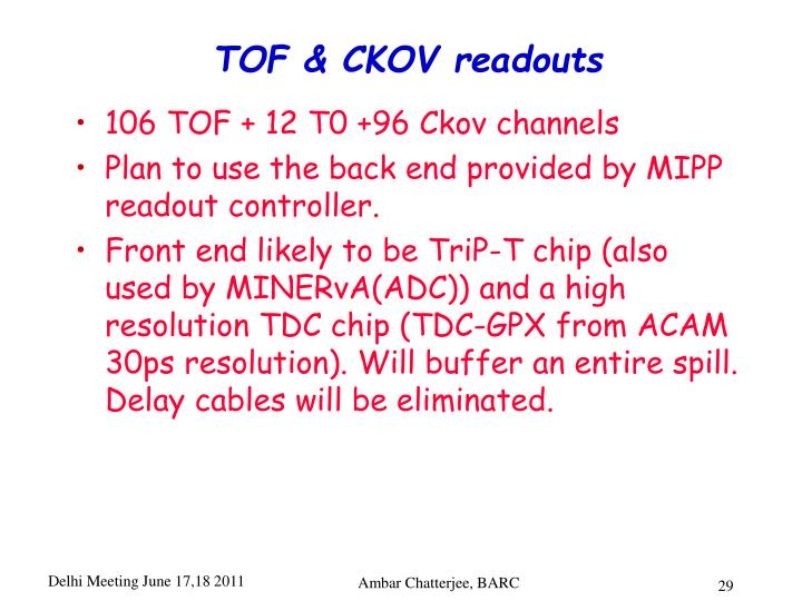 TOF & CKOV readouts